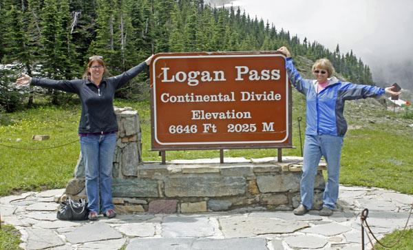 Elaine and Kathy at Logan Pass.
