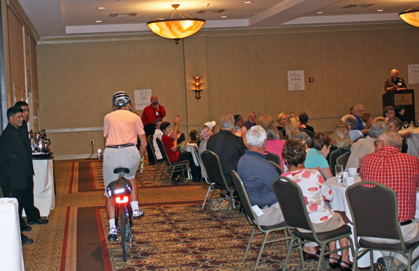 After 3,700 miles on the road, Kathy rides into the ST/Dystonia Symposium in Elizabeth, New Jersey.